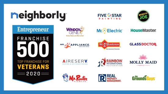 14 Neighborly® Brand Franchises Rank in Entrepreneurs Top Franchises for Veterans 2020 List UPDATED